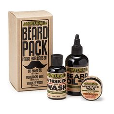 Beard Pack | Beard Oil 4oz, Whisker Wash 2oz, Moustache Wax 1oz  Just because you sport facial hair doesn't mean you have to look like a grizzly man. Keep your 'stache and beard in top-notch form with this all-natural facial hair care set. This line of products, created by a mechanic, is gentle enough for daily use, but don't worry-we won't tell anyone. Handmade in the USA.