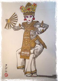 Danseuse balinaise par Florent KHOUDAIR Bali Painting, Batik Art, Black Goddess, Coffee Painting, Traditional Paintings, Marcel, Tuna, Board Games, Poetry