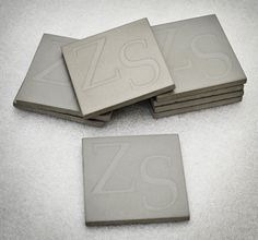 Personalized Concrete Coasters  Set of 8 by FormedStoneDesign, $65.00