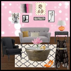"""""""Pink and Grey Living Room"""""""