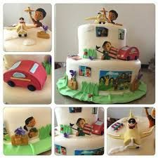 Caleb and Sofia Cake. Everything is edible - airplane, car, purse, notebook, Caleb and Sofia are made out of sugar. Caleb Y Sophia, Sophia Cake, Family Worship Night, Bible Cake, Jw Bible, Pioneer School, Jw Pioneer, Jw Gifts, Sofia Party