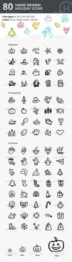 Christmas Thanksgiving Halloween Icons Bundle