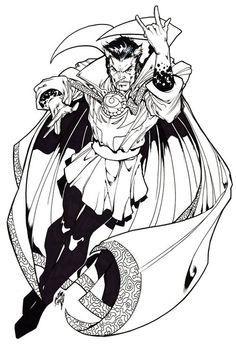 Doctor Strange by *stalk on deviantART Doctor Strange Comic, Doc Strange, Superhero Coloring, Marvel Coloring, Adult Coloring, Comic Book Artists, Comic Books Art, Comic Art, Black And White Comics