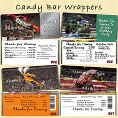 Monster Jam Truck Birthday Candy Wrappers