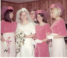 1967 newlyweds Linda and George with the bridesmaids. wow love the pink velvet! Vintage Wedding Photos, Vintage Bridal, Wedding Pics, Wedding Bride, Vintage Weddings, 1970s Wedding, Wedding Ideas, Vintage Photos, Types Of Wedding Gowns