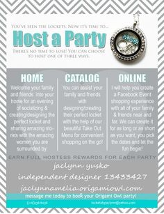 host an online party! SO EASY to earn free jewelry! #OrigamiOwl  locketsbyjaclynn@yahoo.com