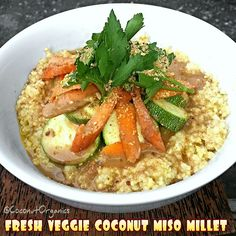 ✩Fresh Veggie Coconut Miso Millet ✩  ❶ Cooked up some millet. ❷ Then, took two heaping spoonfuls of extra virgin coconut oil and melted it in a pan. ❸ Took a tablespoon of some amazing local organic miso paste and worked it into the coconut oil, mixing it into a nice paste. ❹ Then, mixed it into the millet. ❺ Stacked on some fresh zucchini, carrots and parsley. ❻ Drizzled on some yummy homemade balsamic salad dressing and finished with some Celtic Sea Salt® organic roasted sesame seeds. WOW!
