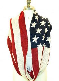 Multi Scarf/Shawl - American Flag Knitted Wraparound Infinity