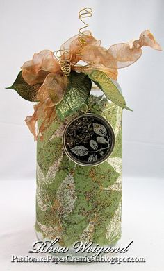 Passionate Paper Creations: Tea Light Jar with Resin Charm - Rhea has done it again with a GORGEOUS project featuring #EnviroTex #JewelryResin and #Stampendous stamps and embossing powders!