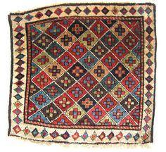Shahsavan Pile Weavings, Moghan Steppe, including aubergine and camel hair