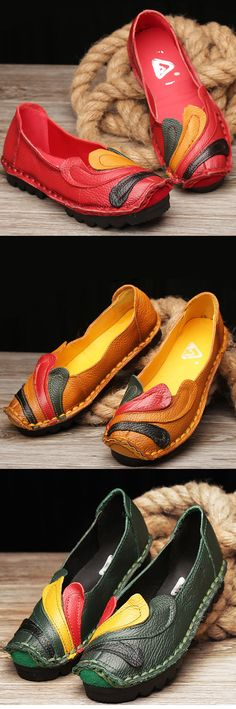 US$32.21 SOCOFY Genuine Leather Shoes_Retro Handmade Flat Loafers_Handmade Women Shoes