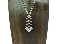 Art Deco Necklace. Open Back Crystal Fringe Dangles.  Sterling