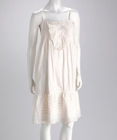 Look at this #zulilyfind! Ivory Lace Pleated Dress - Women #zulilyfinds