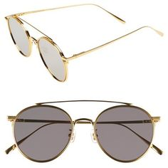 Gentle Monster 'If On' 52mm Metal Aviator Sunglasses (6.799.975 VND) ❤ liked on Polyvore featuring accessories, eyewear, sunglasses, gold, rounded sunglasses, round metal frame glasses, round sunglasses, uv protection glasses and lens glasses