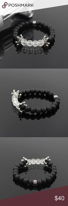 8mm Men's Black And White Onyx Bracelet 8MM Mens Matte Black and White Onyx Stone Bead Bracelet For Men Imperial Two Crown Charm Yoga Mala Bracelet Queen Esther Etc Accessories Jewelry