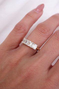 Emerald Diamond Anniversary Band Diamond Anniversary Bands, Diamond Bands, Emerald Cut Engagement, Engagement Rings, Emerald Diamond, Silver Rings, Stone, Jewelry, Enagement Rings