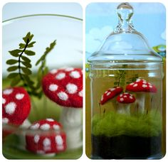 Needle Felted Terrarium and Mushroom Tutorial - I think I'd actually make the mushrooms out of sculpey clay