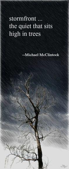 Haiku poem: stormfront -- by Michael McClintock.