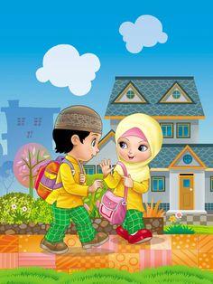 children illustration by iwanilustrator on deviantART Cartoon Books, Cartoon Pics, Islamic Posters, Islamic Art, Drawing For Kids, Art For Kids, Ramadan Cards, Islamic Cartoon, Kids Background