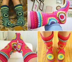 Hexagon Granny Square Crochet Slipper Boots