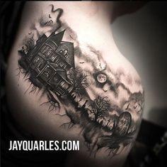 Kunst Tattoos, Body Art Tattoos, Cool Tattoos, Neck Tattoos, Finger Tattoos, Incredible Tattoos, Beautiful Tattoos, Buddhist Symbol Tattoos, Haunted House Tattoo