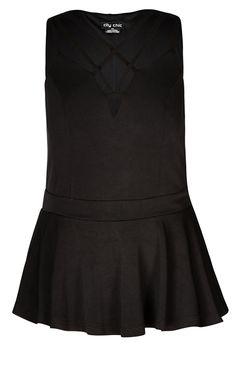 City Chic - DEEP V PEPLUM TOP - Women's Plus Size Fashion