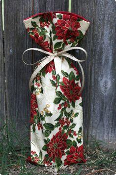 Poinsettias- Wine Bottle Gift Bag $9.00