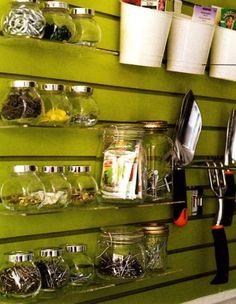 Garage Organization Inspiration - Hanging glass jars