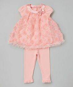 Look at this #zulilyfind! Peach Rosette Tunic & Leggings - Infant #zulilyfinds