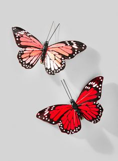 red peach monarch butterflies for romantic wedding and christmas decor