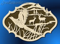 village scenes scroll saw patterns | Nature scene with pheasant & deer