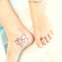 World Map tattoo foot