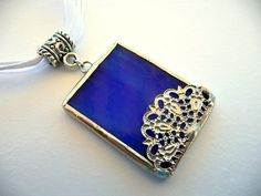 Stained Glass Jewelry  Blue Filigree Lace by StainedGlassStudio, $25.00