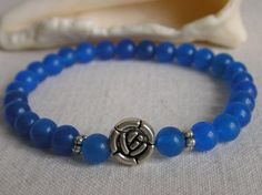Blue Sapphire Stretch Bracelet /  Semi Precious by CloudsOfFantasy, $18.00