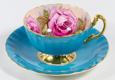 """Aynsley """"Cabbage Rose"""" Cup and Saucer; Blue cup and saucer with rose interior; numbered both are marked on the undersides Glass Tea Cups, China Tea Cups, China Cups And Saucers, Vintage Crockery, Antique Tea Cups, Tea Cup Set, My Cup Of Tea, Teapots And Cups, Teacups"""