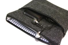 Men's MacBook Pro 13 or 15 Inch Cover Laptop Case Zipper Retina Display Outer Pocket Handmade Fashion Sleeve - Gray Herringbone Wool. $38.00, via Etsy.