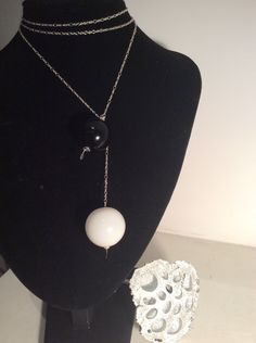 Murano blown glass black and white beads pure silver necklace AFRODITE#6 by biancaolsen on Etsy