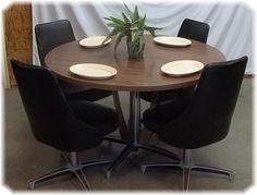 CHROMCRAFT Dining Room Set Table Chairs Black Chrome Craft 50s 60s