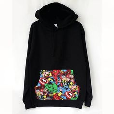 Super Hero Patched Unisex Pullover Hoodie Marvel Hoodie, Super Hero Hoodie, Marvel Comics Hero Pocket HoodieWe offers one of a kind Marvel Comic Book Patched Unisex Hoodie.Show your Marvel…More Sweatshirt Outfit, Black Hooded Sweatshirt, Red Hoodie, Marvel Mode, Marvel Comics, Marvel Avengers, Marvel Fashion, Punk Fashion, Lolita Fashion