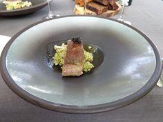 Sturgeon fillet, enoki mushrooms, chicken broth, green tea sauce, onion noodles, black caviar @ Restaurant Biblioteka No. 1