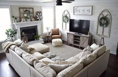 amazing home living room sofa design and decorating ideas Living Room Sofa Design, New Living Room, Home And Living, Living Room Designs, Living Room Layout With Fireplace And Tv, Living Room With Sectional, How To Decorate Living Room, Large Sectional, Living Room Decor Cozy