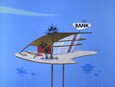 Daniels' Animated Topics & Headlines: The Jetsons BG Artwork 1 Mid Century Modern Art, Mid Century Art, Retro Futuristic, Futuristic Architecture, Vintage Cartoon, Cartoon Art, Os Jetsons, Animation Background, Science Fiction Art