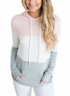 Women Color Block Long Sleeve Hoodie Sweatshirt