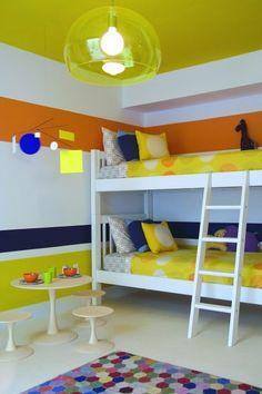2 modern kids bedroom idea with colorful decoration Playful Kids Bedroom Idea with Color, graphic and a Dreamy Ceiling