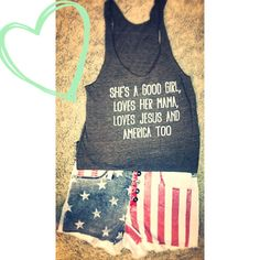 Judith March - Tom Petty Tank! American Flag Shorts! Perfect Outfit! Www.wildflowersboutiqueob.com