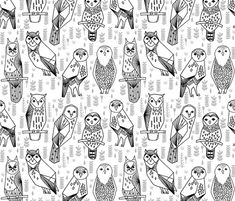 Geo Owls - Black and White by Andrea Lauren  fabric by andrea_lauren on Spoonflower - custom fabric