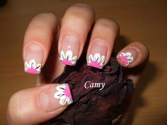 flower french tip nails
