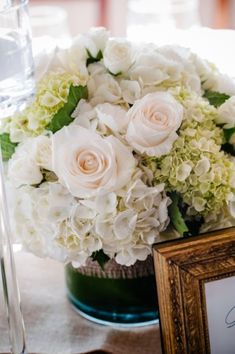 Blush White and Green Wedding Centerpiece. I've thought more about the green hydrangeas I wouldn't mind it in the pieces above the doors and on some tables.