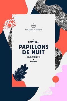 Festival Papillons de Nuit 2017 à Saint Laurent des cuves (50) Normandie Logo Festival, Music Festival Posters, Festival Flyer, Design Festival, Festival 2017, Art Festival, Poster Design Layout, Flyer Layout, Print Layout