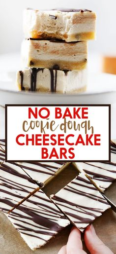 Lexi's Clean Kitchen | Vegan Cookie Dough Cheesecake Bars No Bake Cookie Dough, Cookie Dough Cheesecake, Vegan Cookie Dough, Low Carb Cheesecake, Cheesecake Bars, Cheesecake Recipes, Cashew Cheesecake, Homemade Desserts, Mini Desserts